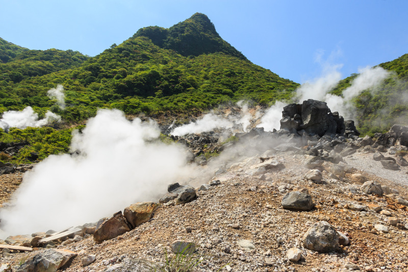 The boiling sulphur springs of Owakudani Valley