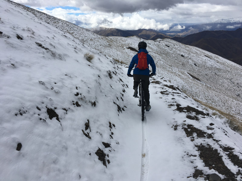 Heli mountain biking snow