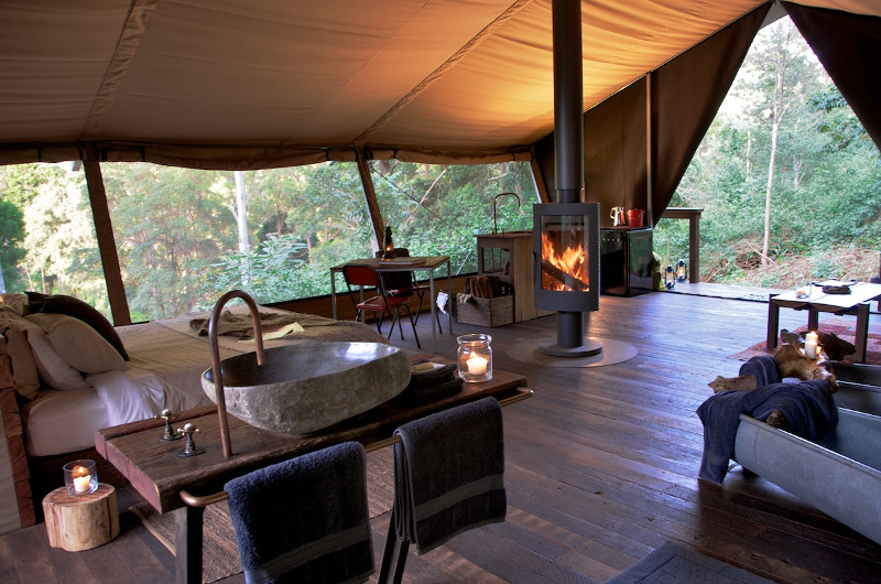 Inside luxury camp tent