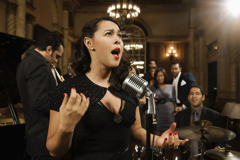 Jazz singer in beautiful club