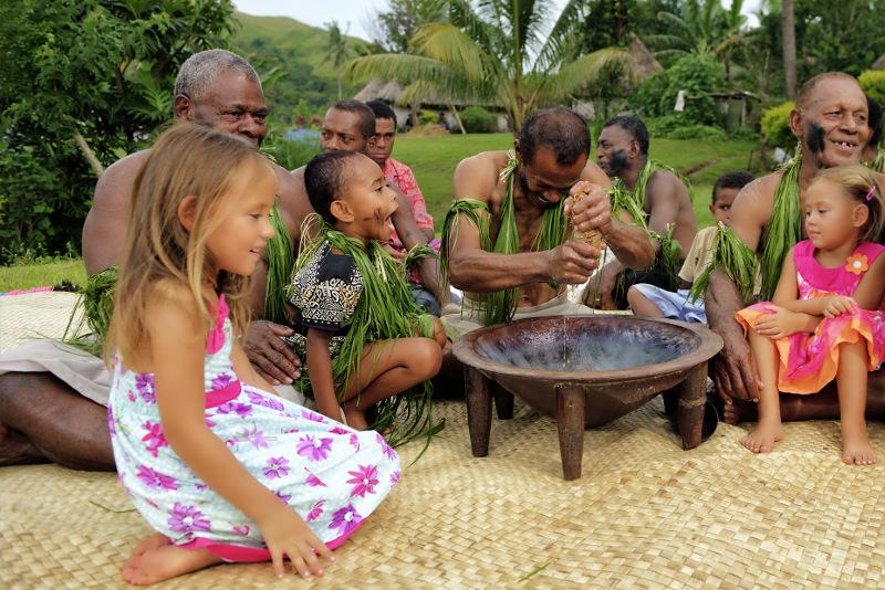 Kava ceremony with kids