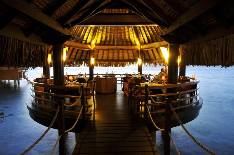 Stunning overwater restaurant Le Lotus in Tahiti