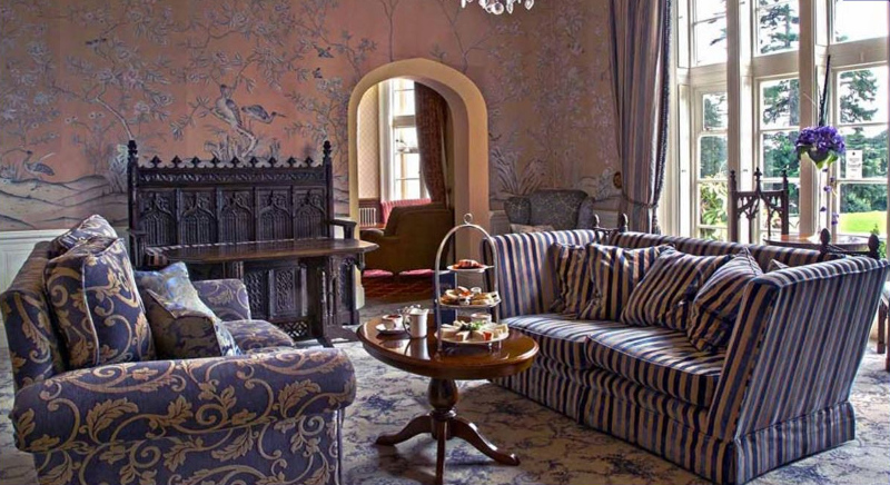 Elegant castle sitting room decorated in purple