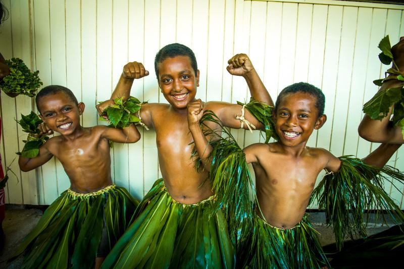 Local Fjian children in traditional dress