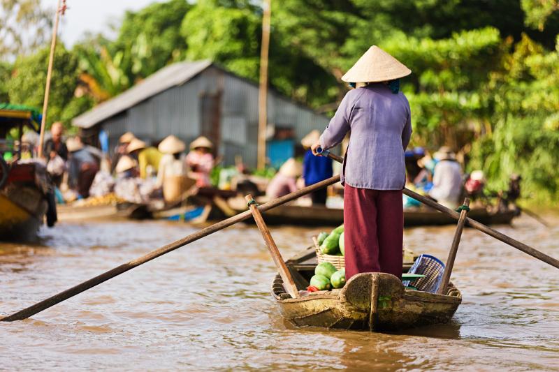 Woman steers long boat down Mekong River Delta
