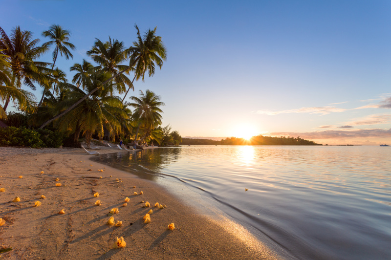 Sunset beauty from a beach on Moorea Island