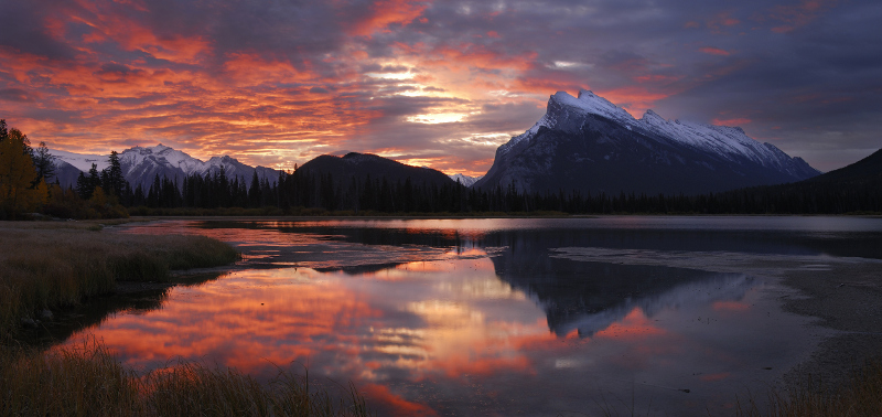 Mount Rundle from Vermillion Lakes in Canadian Rockies