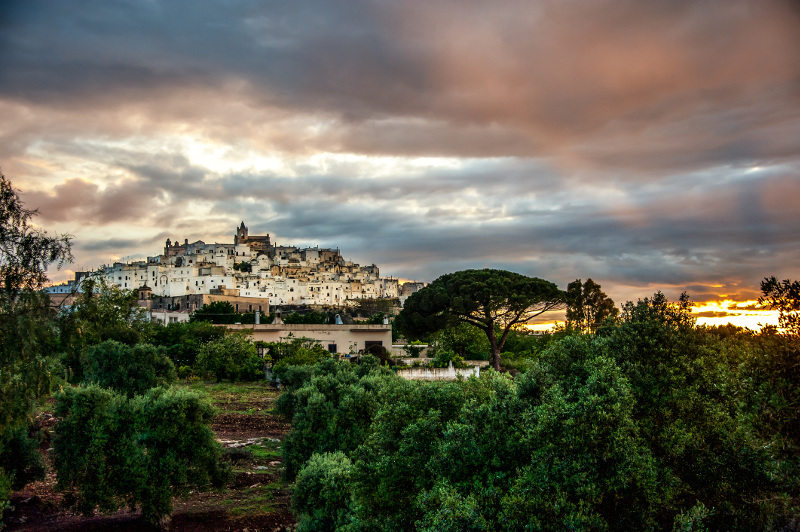 The white village of Ostuni built on a scenic rise