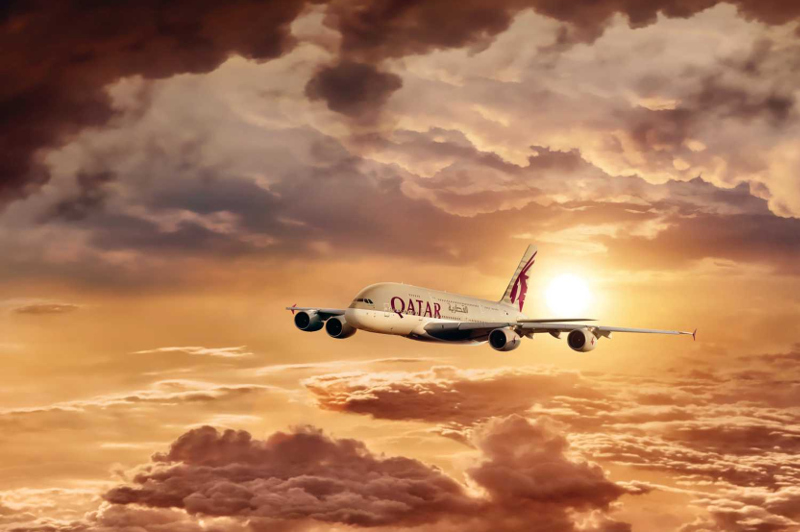 Qatar Airways in the sky