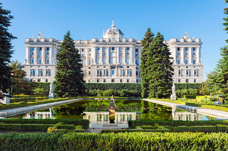 Royal Palace in Madrid, Spain viewed from the sabatini gardens