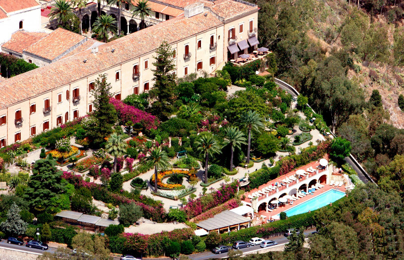 Beautiful formal gardens at a hotel, aerial view