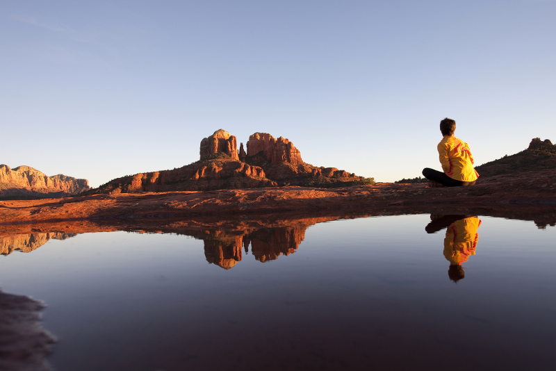 Sedona landscape with women meditating