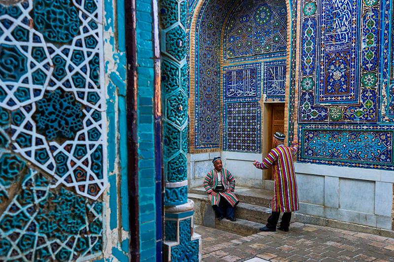 Uzbek men at Shah i Zinda mausoleum, Uzbekistan