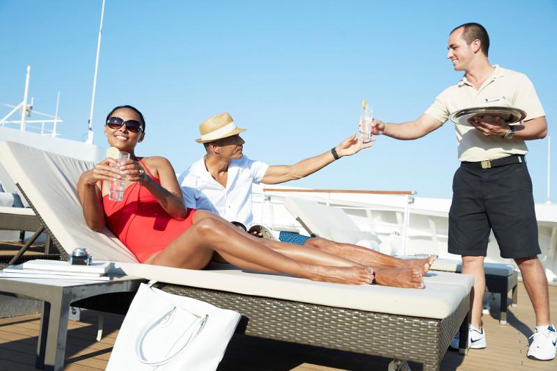 Service aboard a luxury Seabourn cruise ship