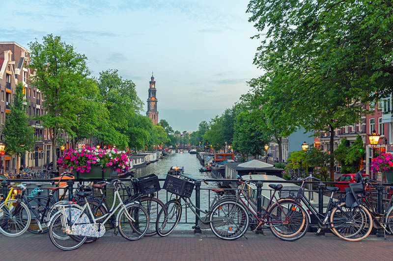 Bicycles on a bridge in Prinsengracht canal, Amsterdam