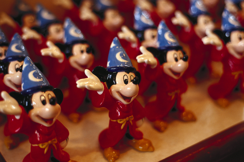 Rows of mickey mouse figurines