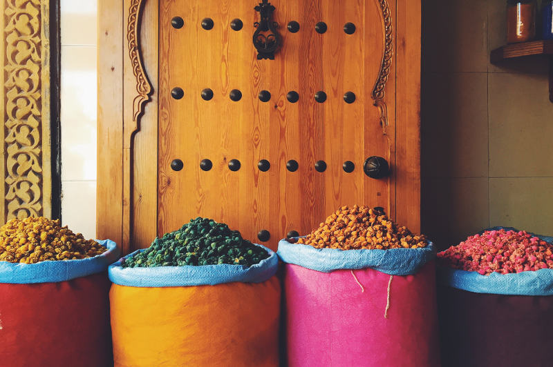 Colourful containers of spices