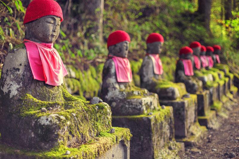 Stone Jizo statues at Nikko