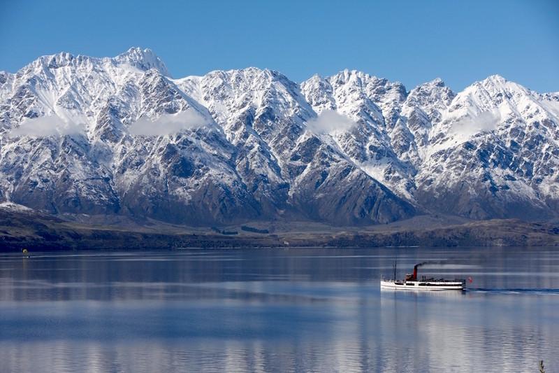 TSS Earnslaw cruising across lake wakatipu