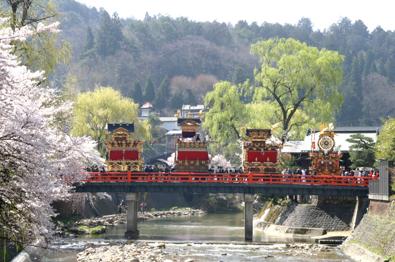 The colourful floats of the springtime Takayama Festival