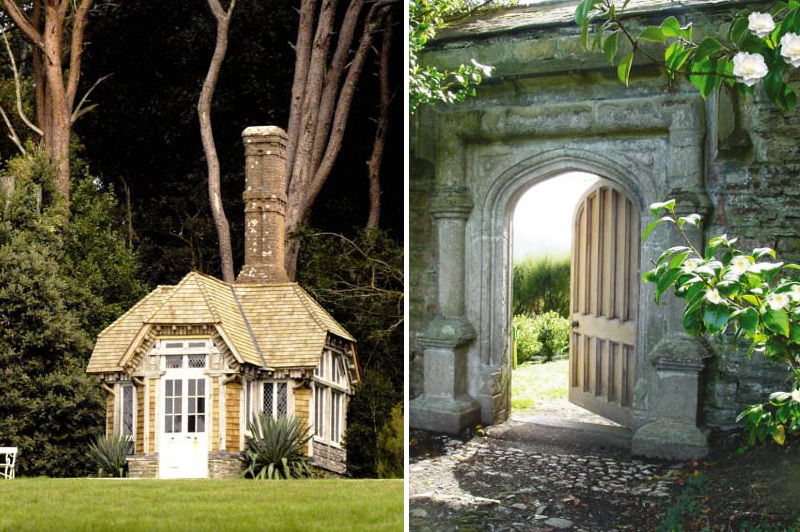 Stone archway and picturesque cottage in Cornish estate
