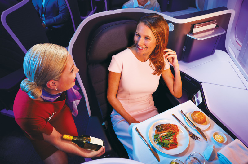 Virgin Australia first class dining