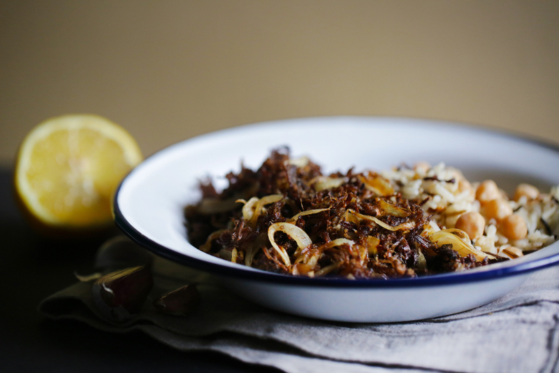 Cuban dish of fried meat onions and rice