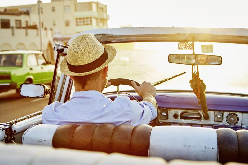 Man drives vintage car in Cuba