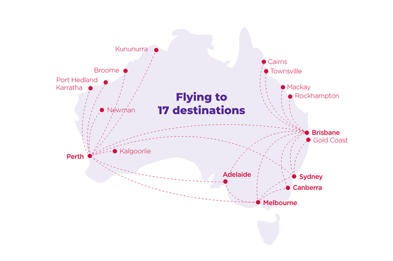 Virgin Australia Flight Map as of June 2020