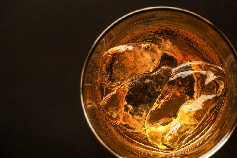 Top view of a glass of scotch whisky