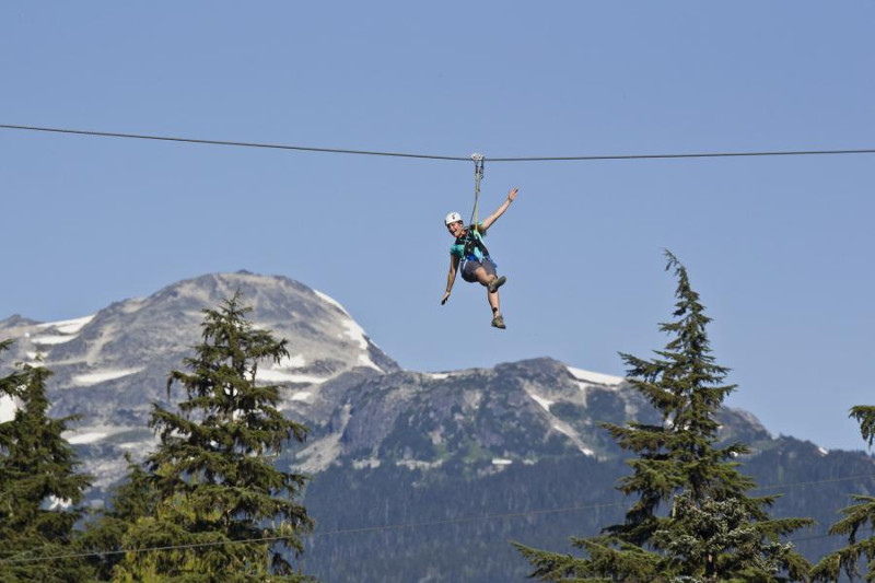 Woman on zip line with mountain in back ground