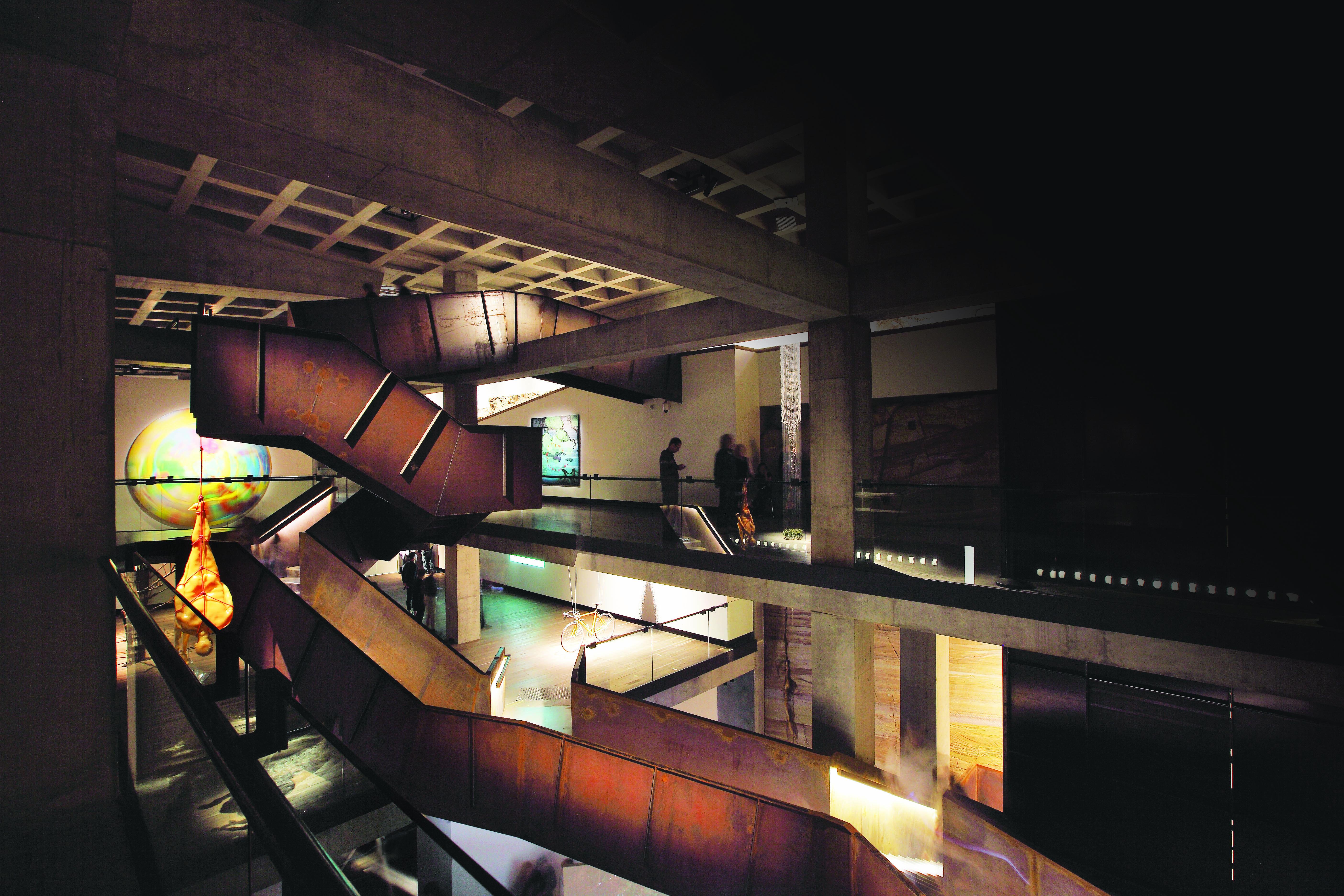 Corten Stairwell and surrounding artworks inside MONA, Hobart