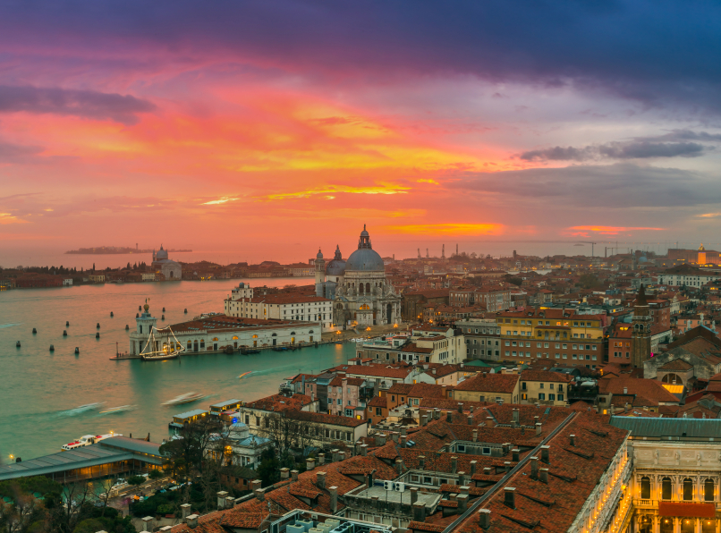 View of Basilica di Santa Maria della Salute at night under very dramatic sunset in Venice, Italy. Image: Getty images.
