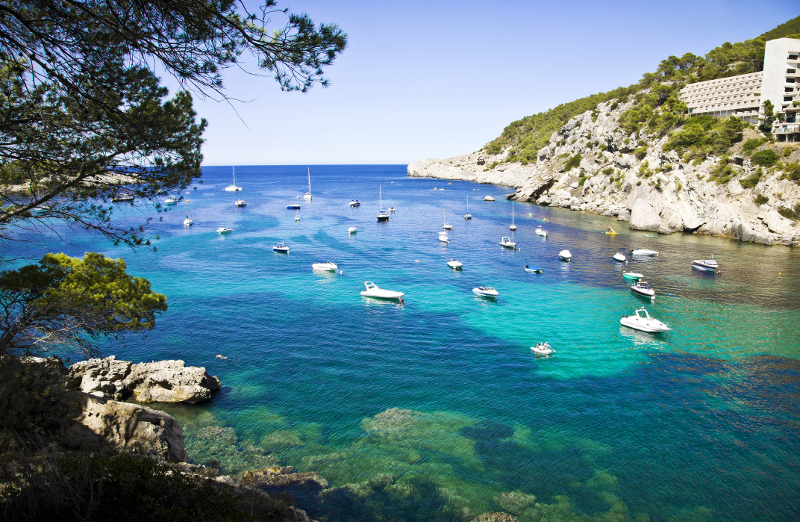clear waters off the island of Ibiza, Spain,