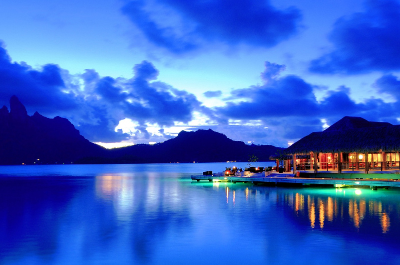 Restaurant sits over stunning ocean view at Bora Bora