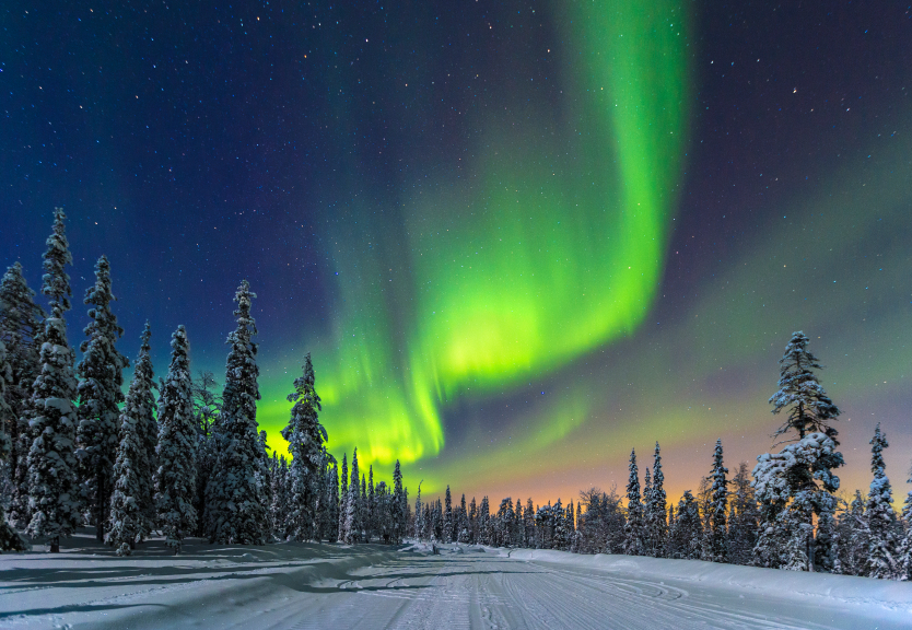 The northern lights, or Aurora Borealis, are a natural light phenomenon that occurs in the Arctic regions of the northern hemisphere as seen here in Finland.