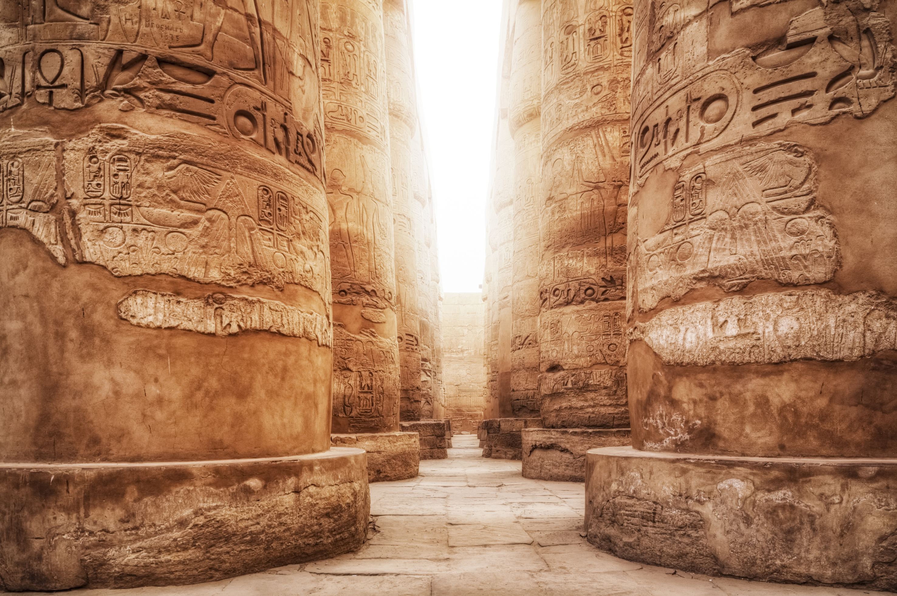 This image: Built between 1290 and 1224 BC, The Great Hypostyle Hall of Karnak is one of the most visited monuments of Ancient Egypt.
