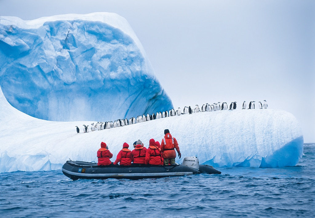 This image: Guests exploring Antarctica and penguins. Source: Ralph Lee Hopkins