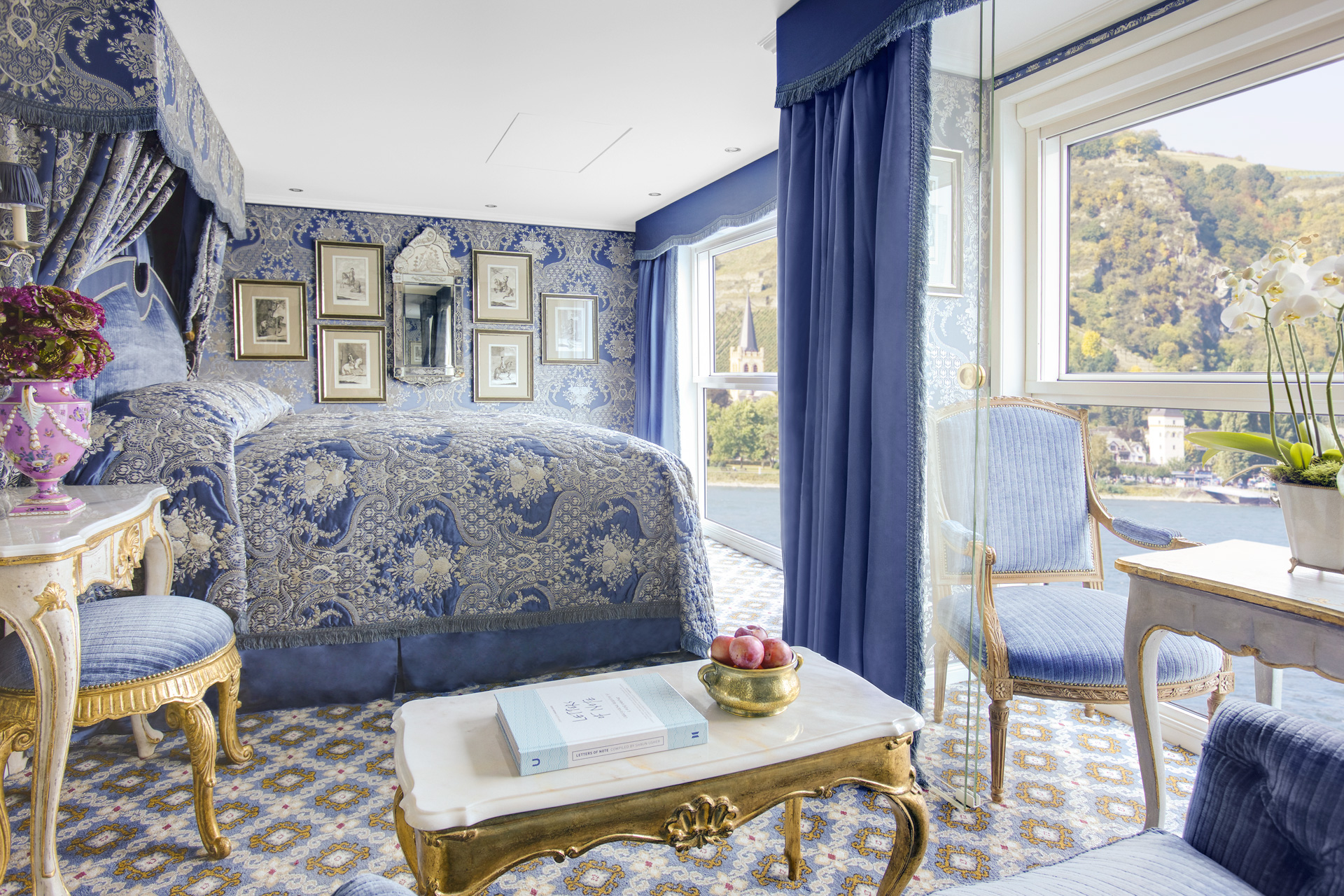 Each category of stateroom takes on a different palette and all have a canopied made-to-order Savoir bed, (acknowledged as the world's best), the finest monogrammed linen and marble bathrooms. Image courtesy of the Uniworld Boutique River Cruise Collection.