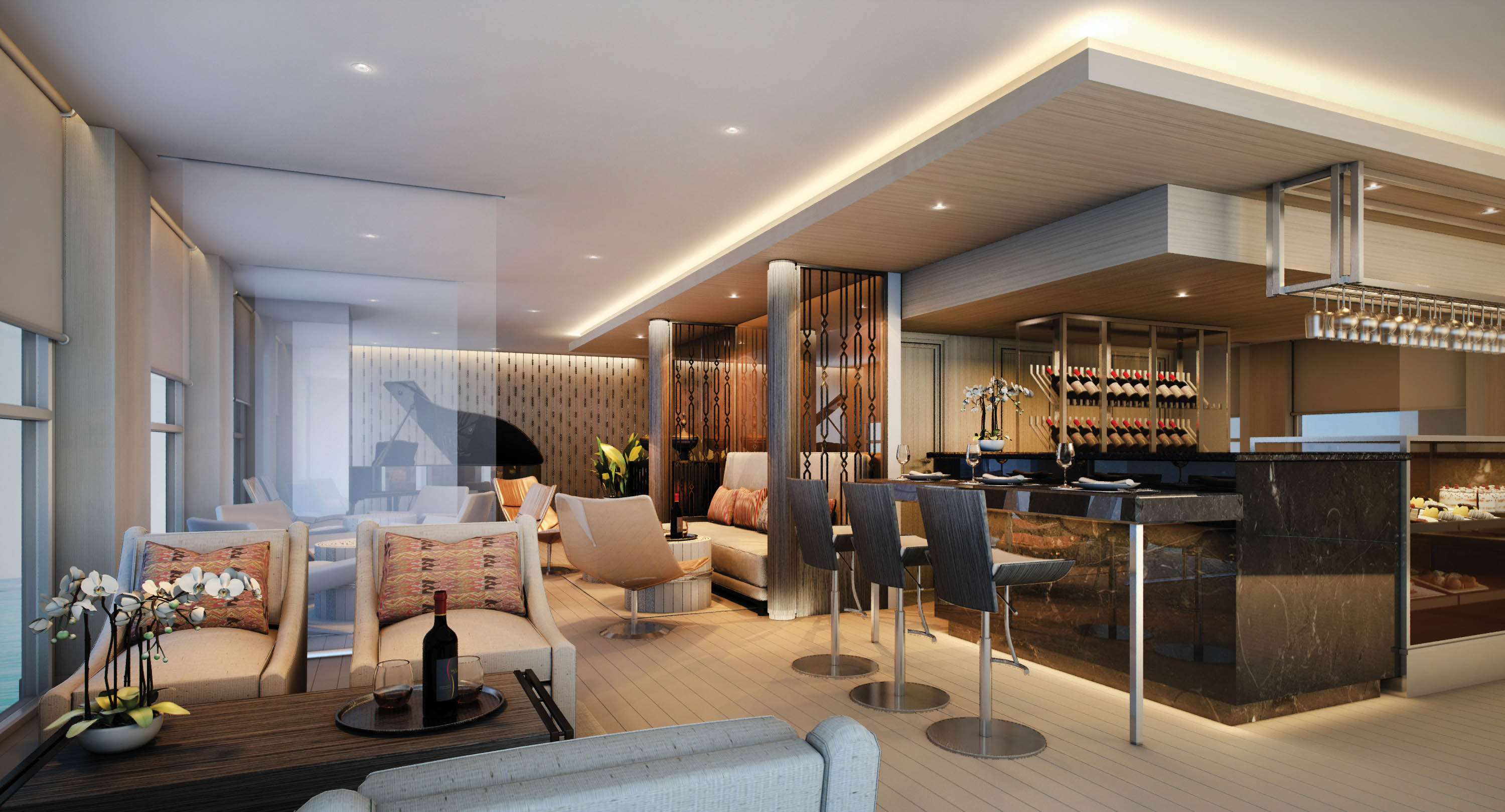 This image: An impression of the lounge area on board Scenic Aura. Source: Scenic