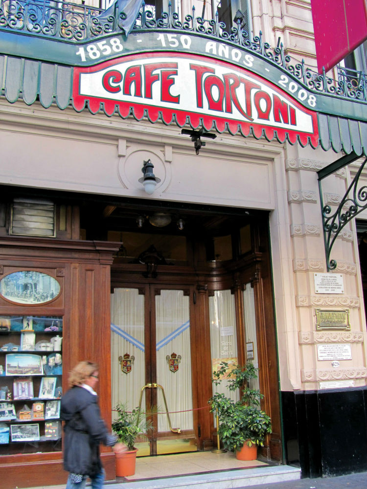 Outside the iconic Cafe Tortoni coffeehouse, Buenos Aires, Argentina.