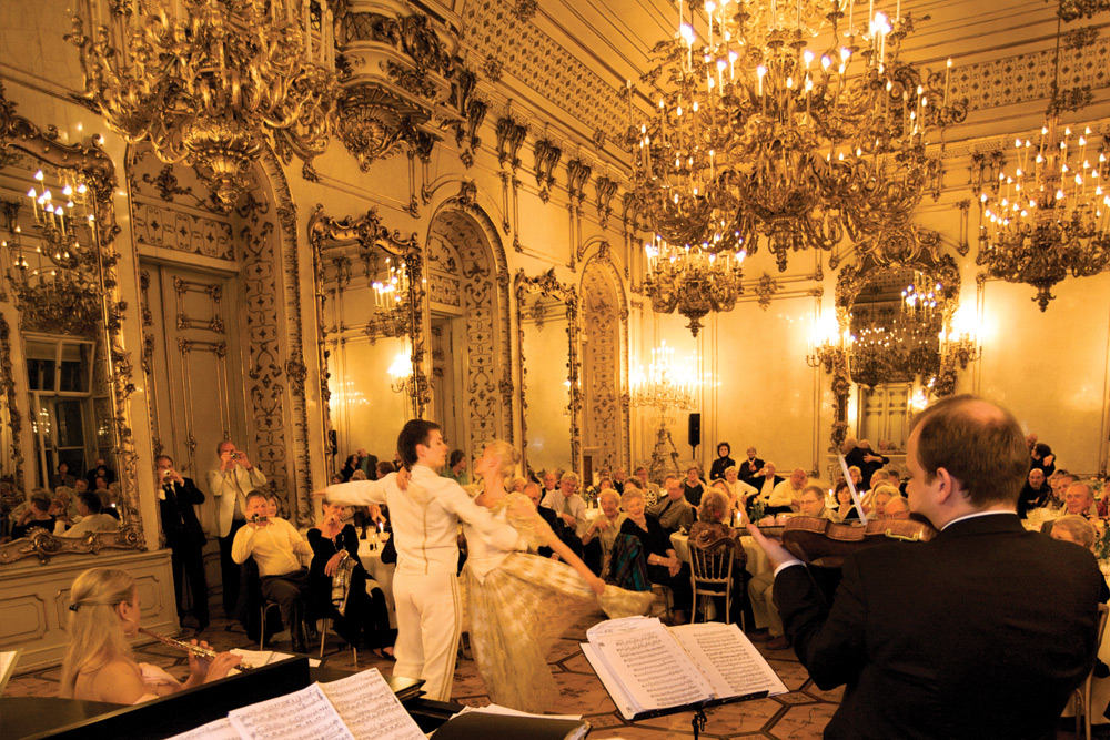 Dinner at the privately-owned Palais Pallavicini, Vienna. Image courtesy of Tauck.