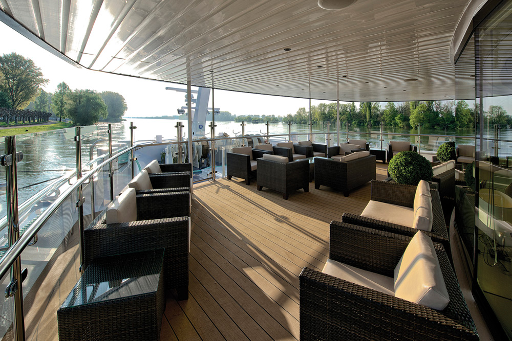The outdoor Observation Lounge offers excellent backdrops for relaxation, afternoon tea or a pre-dinner drink. Source: Avalon Waterways
