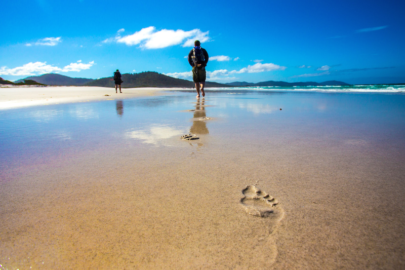 One of many unspoiled beaches of the Freycinet National Park. Image courtesy of the Great Walks of Australia