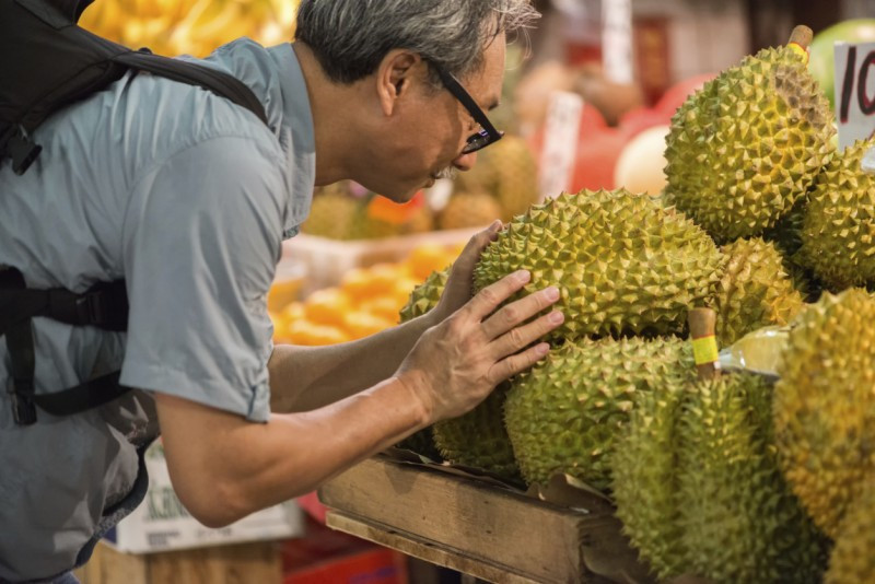 Durian fruit on sale at a Hong Kong market. Image: Getty images.