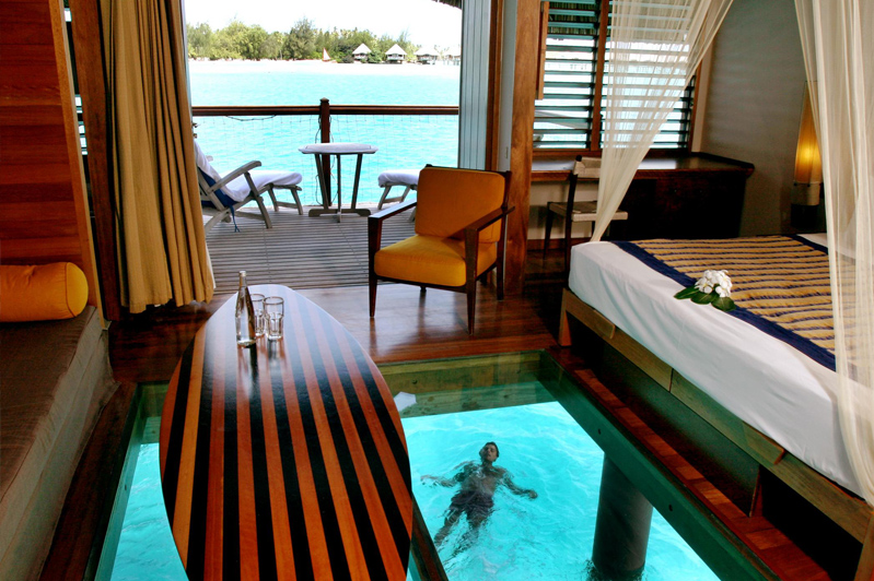Glass-bottom overwater bungalows of Le Meridien Bora Bora