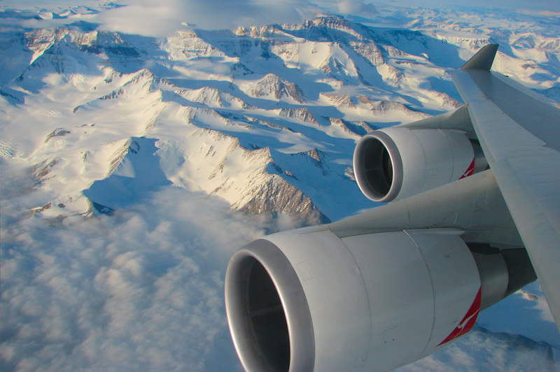 Views over wing of the Great White Continent