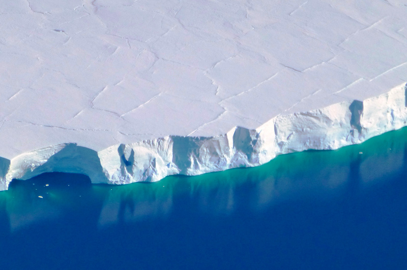 Flying over Antarctic ice shelf