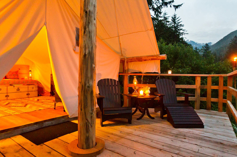 Enjoy the wilderness from the deck of your luxury ensuite tent. Image:  Clayoquot Wilderness Resort