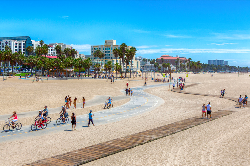 The iconic footpath along Venice Beach. Image: Santa Monica Travel & Tourism